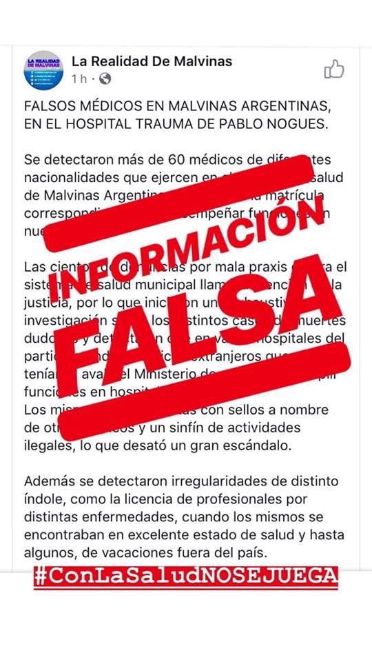 información falsa malvinas